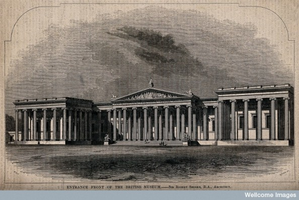 V0013513 The British Museum: the entrance facade as intended. Wood en