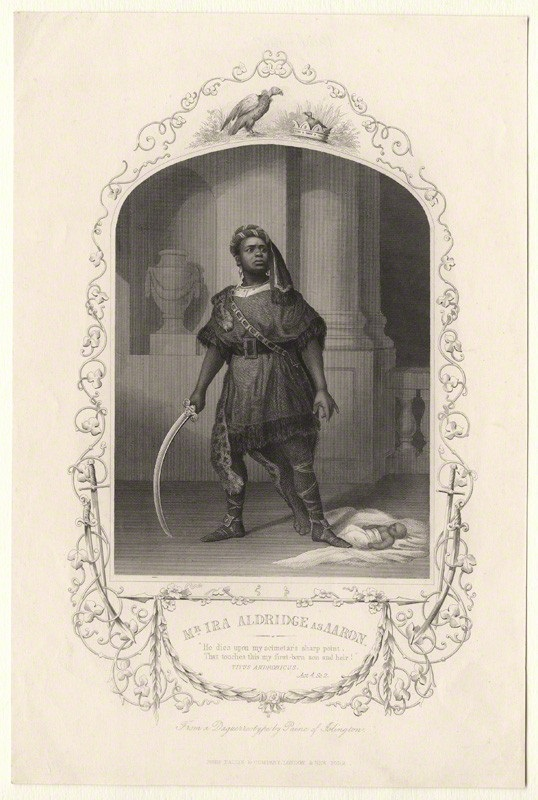 NPG D17967; Ira Aldridge as Aaron in 'Titus Andronicus' published by John Tallis & Company, after  William Paine